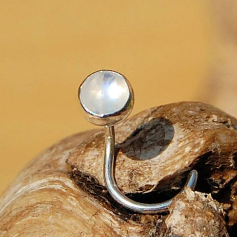Rainbow Moonstone Nose Stud