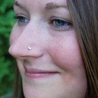 Rainbow Moonstone in Gold Nose Stud