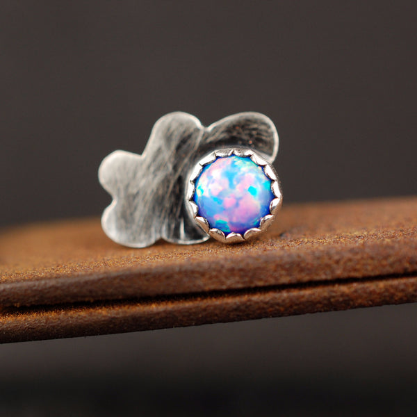 fire opal nose stud