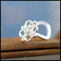 nickel-free silver nose stud with filigree