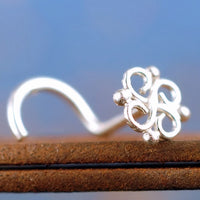 dainty sterling silver nose stud with filigree