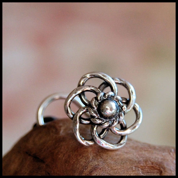 Silver Braided Flower Nose Stud in Sterling Silver