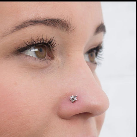 Star Nose Stud in Sterling Silver