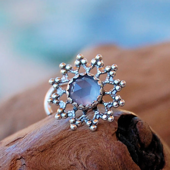Snowflake with Chalcedony Nose Stud - Big and Bold
