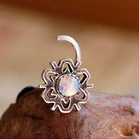 bold snowflake nose stud in sterling silver