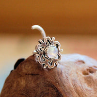large sterling silver snowflake nose stud