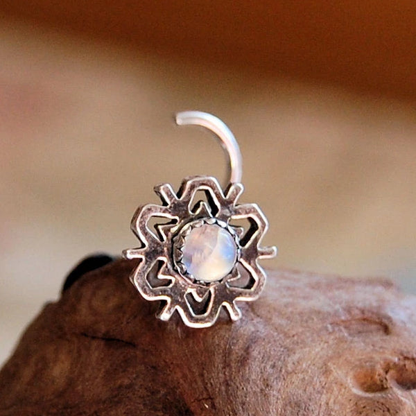 sterling silver snowflake nose stud with rainbow moonstone