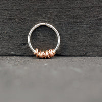 Tangled Rose Gold on Silver Septum or Nose Ring