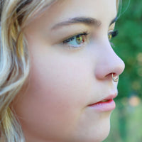 tangled organic septum ring sterling silver with yellow gold