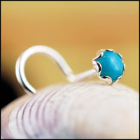 turquoise nose stud in sterling silver filigree