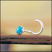 sterling silver and turquoise nose stud