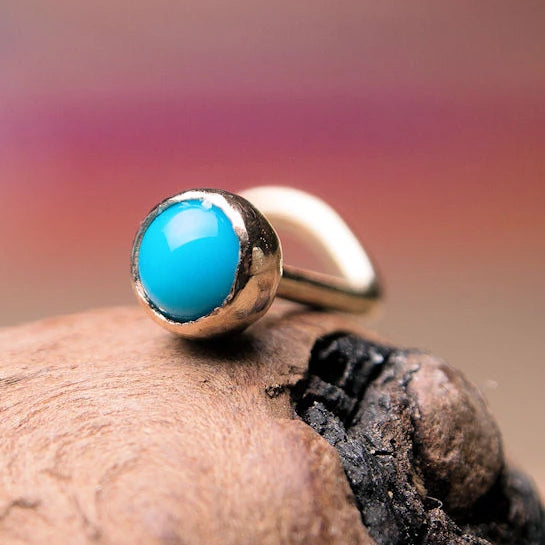 turquoise and 14 karat yellow gold nose stud