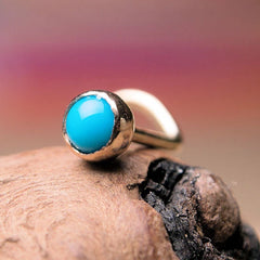 Sweet Natural Blue Turquoise 3mm Cabochon 14K Yellow Gold Nose Ring Screw Stud