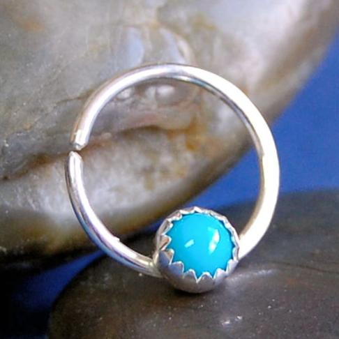sterling silver and turquoise gemstone septum ring
