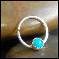sterling silver and turquoise gemstone septum hoop