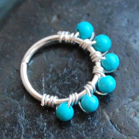 Beaded Silver Nose Ring Wrapped with Turquoise