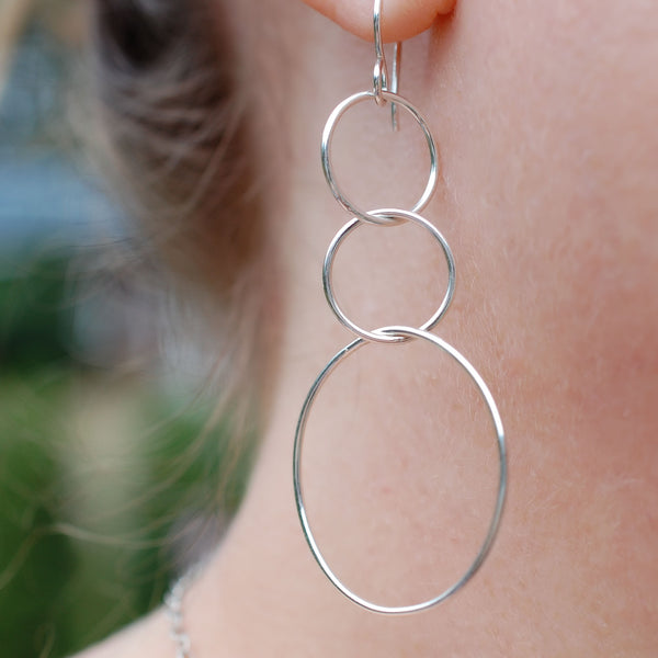 large sterling silver dangle hoop earrings