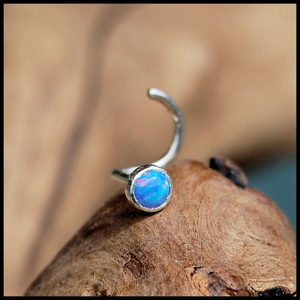 Blue Opal (Lab Created) Nose Stud in Sterling Sterling Straight Bezel