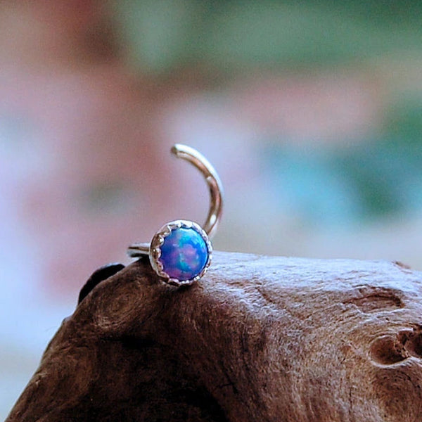 blue opal nose stud