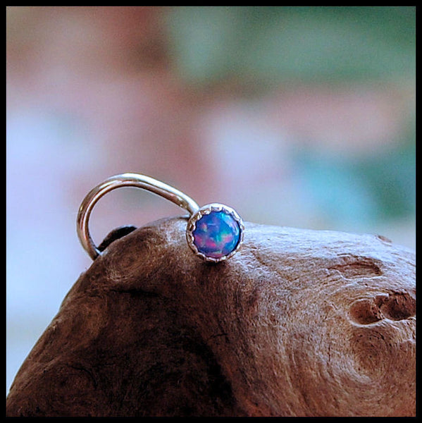 Blue Opal (Lab Created) Nose Stud in Serrated Bezel
