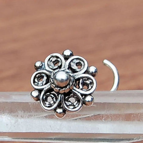 Bold Flower Nose Stud Sterling Silver