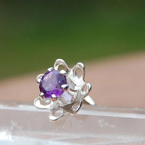 Flower Nose Stud in Sterling Silver with Purple Amethyst Gemstone