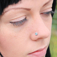 Flower Sterling Silver Nose Stud with London Blue Topaz