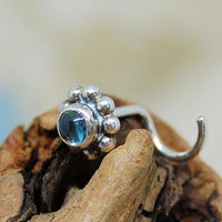 blue topaz and sterling silver nose stud