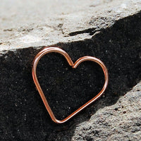 rose gold heart hoop