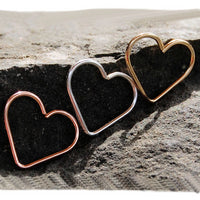 nickel-free rose gold heart earring