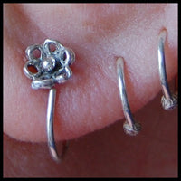 tiny flower sterling silver hoops