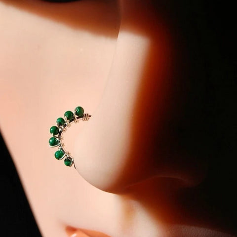 Beaded Silver Nose Ring Wrapped with Malachite