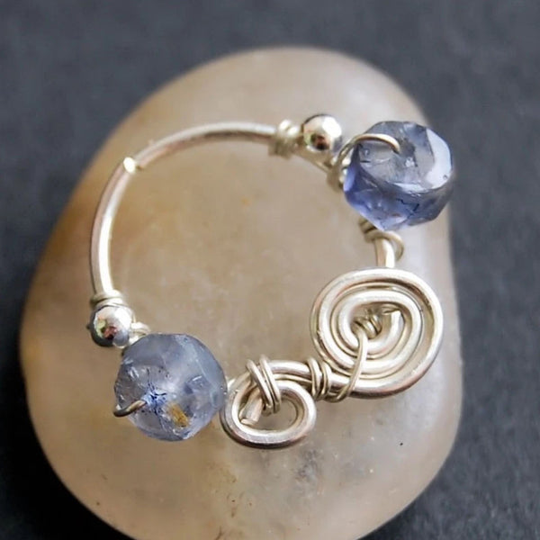 Sterling Nose Nath in Mini - Iolite Swirl Catchless Nose Ring