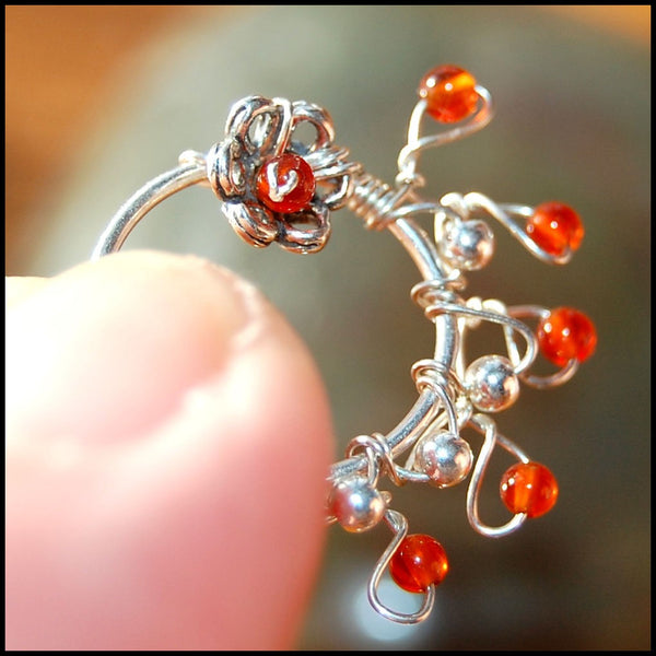 Decorated Silver Nose Ring Indian Nath Style with Carnelian