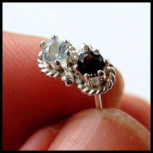 Double Bling Nose Ring Sterling Silver And Gemstone Nose