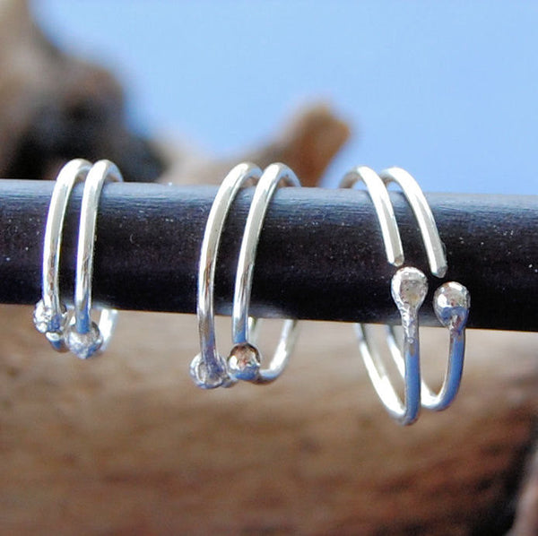 set of sterling silver hoop earrings