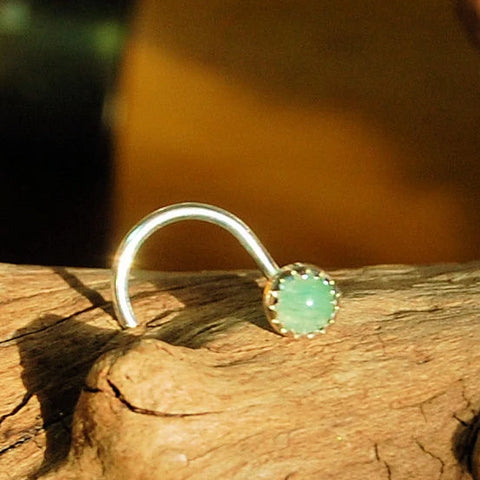 Aventurine Nose Stud in Sterling Silver Serrated Bezel