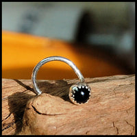 black spinel nose pin sterling silver