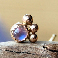 Gold Nose Stud - Solid 14 karat Gold and Rainbow Moonstone - Unique Bold Style
