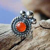 antiqued sterling silver filigree nose stud with mexican fire opal