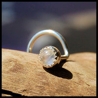 rainbow moonstone and sterling silver nose jewelry