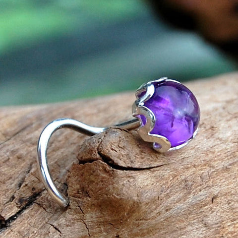 Amethyst Nose Stud Set in a Filigree of Sterling Silver