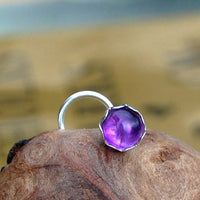 nickel-free sterling silver nose stud with amethyst gemstone