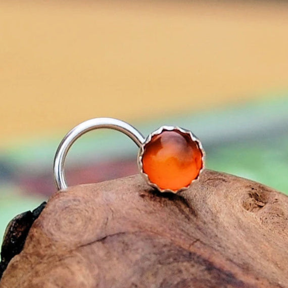 Amber Nose Stud in Sterling Silver