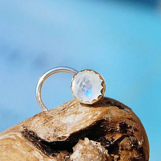 Rainbow Moonstone Nose Stud Set in Sterling Silver Serrated Bezel 4mm