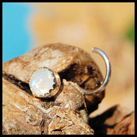 4mm Rainbow Moonstone Nose Stud