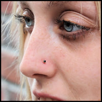 dainty 2mm black and gold nose pin