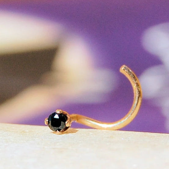 dainty 2mm black nose stud