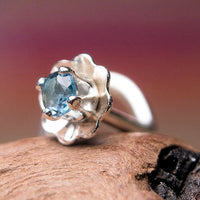 Mini Flower Nose Stud with Blue Topaz Gemstone