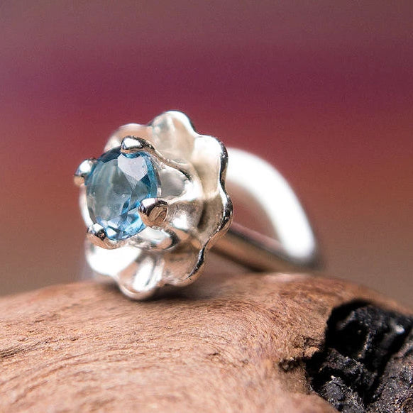 Mini Flower Nose Stud with London Blue Topaz Gemstone